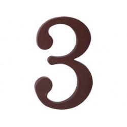 """číslo 175mm hnědé """"3"""""""