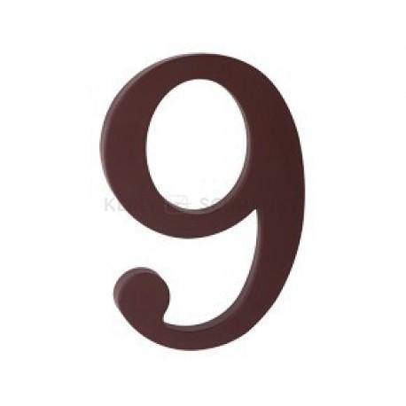 """číslo 175mm hnědé """"9"""""""
