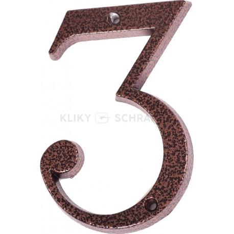 """Číslo """"3"""" měděný antik 120mm"""