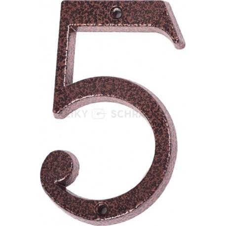 """Číslo """"5"""" měděný antik 120mm"""