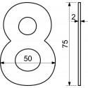 """Číslice """"3"""" 75mm nerez"""